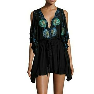 NWT Free People Cora Black Embroidered Dress XSm